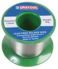 DURATOOL D03344  Solder Wire, Lead Free, 1.2Mm, 50G Reel